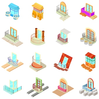 Set di icone materiali oblò, stile isometrico