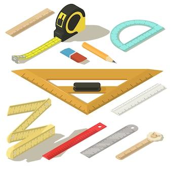 Set di icone matita misura righello. un'illustrazione isometrica di 11 icone di vettore della matita di misura del righello per il web