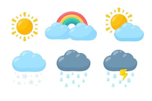 Set di icone meteo carino. icona di previsioni del tempo isolata su fondo bianco.
