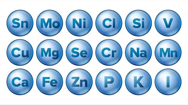 Set di icone minerali.