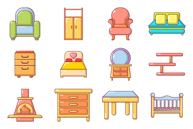 Set di icone mobili. l'insieme del fumetto delle icone di vettore della mobilia ha messo isolato