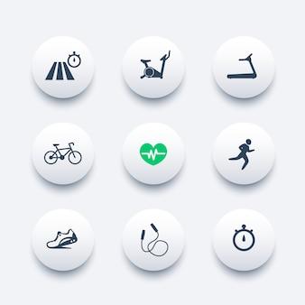 Set di icone moderne rotonde di allenamento cardio,