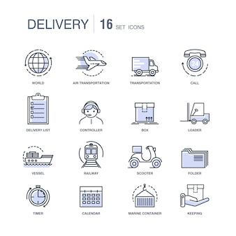 Set di icone monocromatiche moderni servizi di consegna veloce