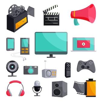 Set di icone multimediali, stile cartoon