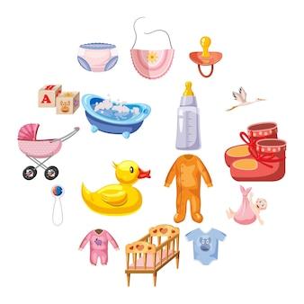 Set di icone nato bambino, stile cartoon