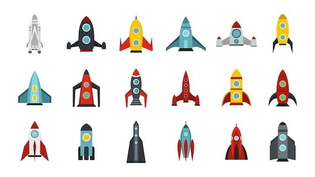 Set di icone nave spaziale. insieme piano della raccolta delle icone di vettore della nave spaziale isolata