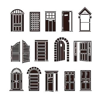 Set di icone nere a porta aperta e chiusa