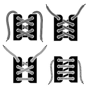 Set di icone nere di allacciatura delle scarpe