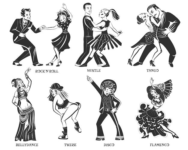 Set di icone nere di ballo nativo popolare