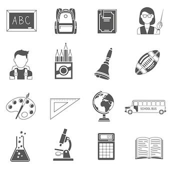 Set di icone nero di educazione