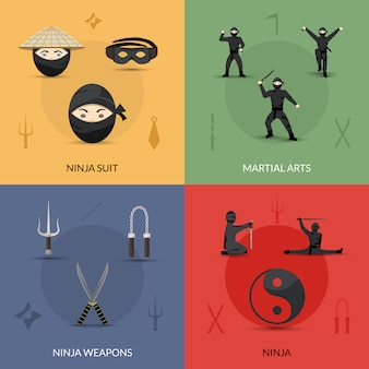 Set di icone ninja