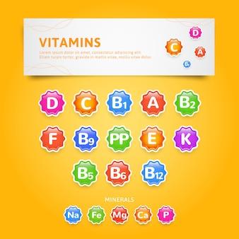 Set di icone o etichette di vitamine e minerali