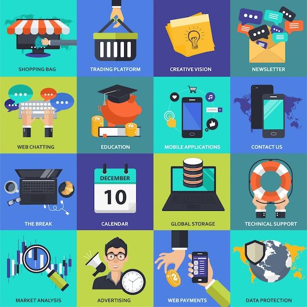 Set di icone per affari, gestione, tecnologia e finanza