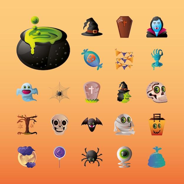 Set di icone per halloween su disegno di illustrazione arancione