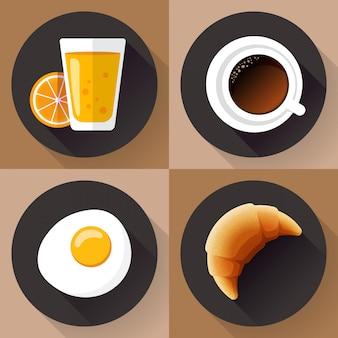 Set di icone per la colazione. bicchiere di succo, caffè, uova e cornetto. stile design piatto.