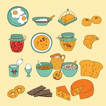 Set di icone per la colazione