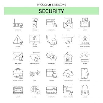 Set di icone per linea di sicurezza - 25 stile contorno tratteggiato