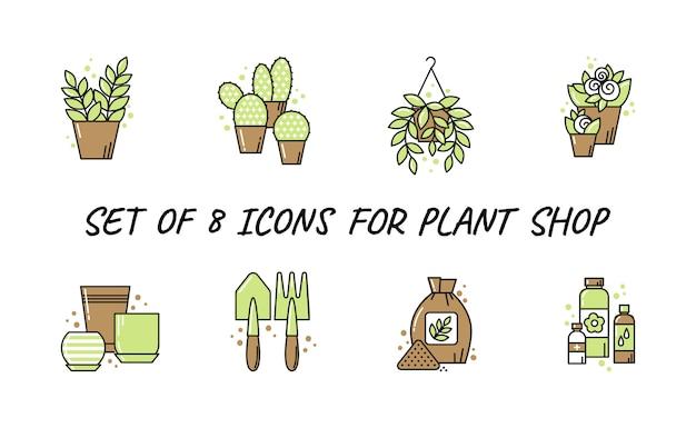 Set di icone per negozio di piante