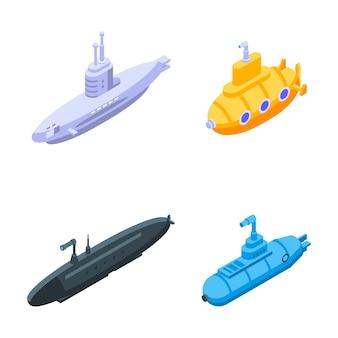 Set di icone periscopio, stile isometrico