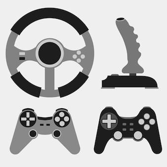 Set di icone piane del joystick, videogioco, riproduzione su console - illustrazione