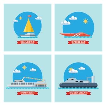 Set di icone piane di barca a vela, traghetto, motoscafo e hovercraft. trasporto marittimo.