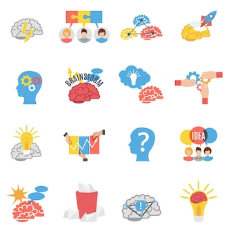 Set di icone piane di brainstorming creativo