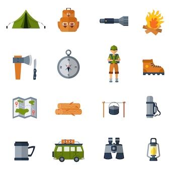 Set di icone piane di campeggio