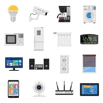 Set di icone piane di casa intelligente e internet delle cose