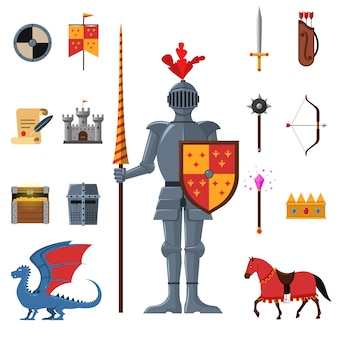 Set di icone piane di cavalieri medievali del regno