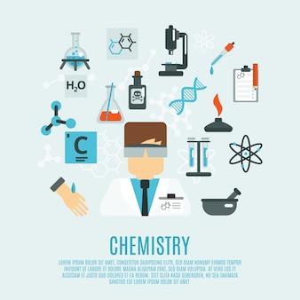 Set di icone piane di chimica