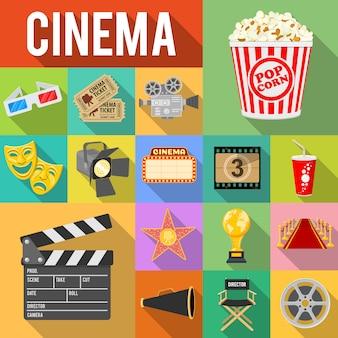 Set di icone piane di cinema