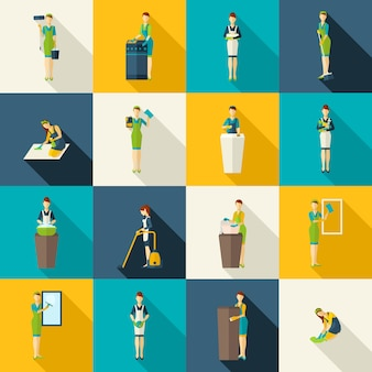 Set di icone piane di colori di detergenti