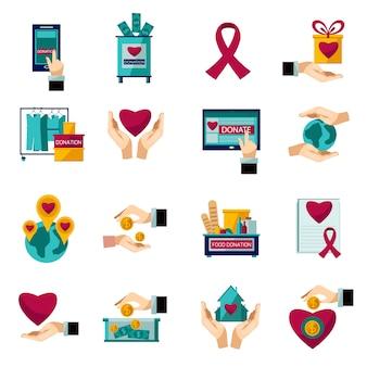 Set di icone piane di donazione di carità