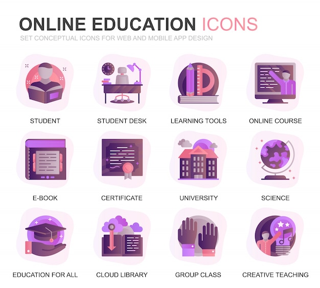 Set di icone piane di educazione moderna e conoscenza