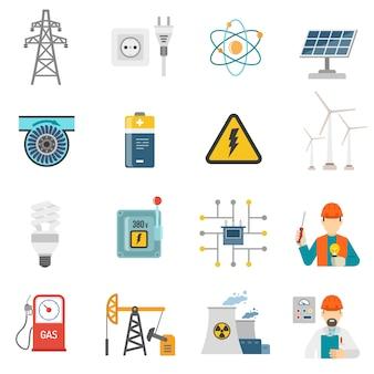 Set di icone piane di energia di potenza