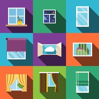 Set di icone piane di finestra