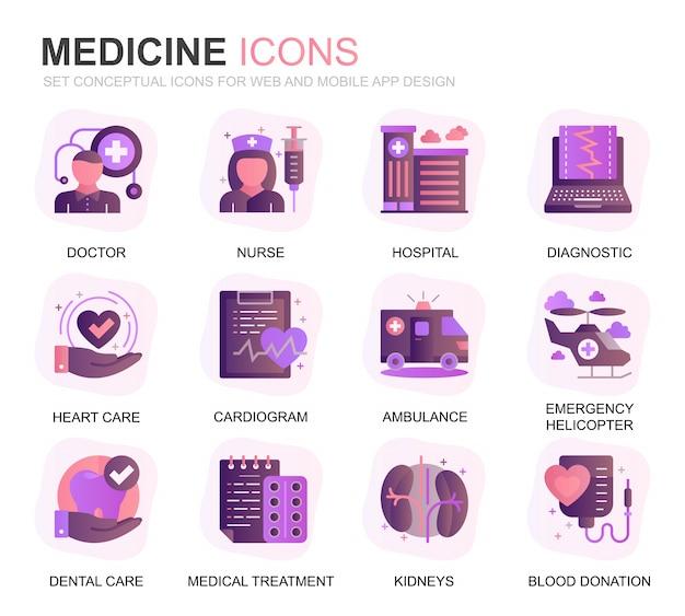 Set di icone piane di gradiente di assistenza sanitaria e medicina moderna