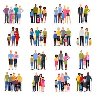 Set di icone piane di gruppi di membri della famiglia