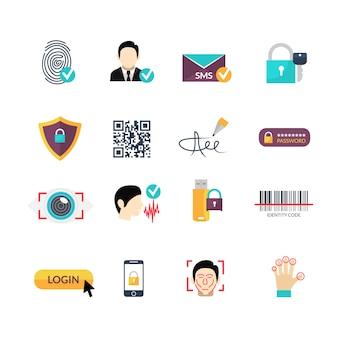 Set di icone piane di metodi sicuri di verifica