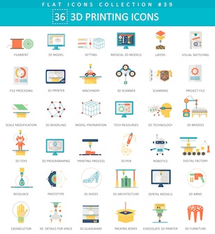 Set di icone piane di modellazione di stampa 3d