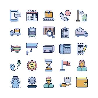 Set di icone piane di servizi di consegna, spedizione e logistica