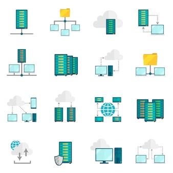 Set di icone piane di servizio di hosting