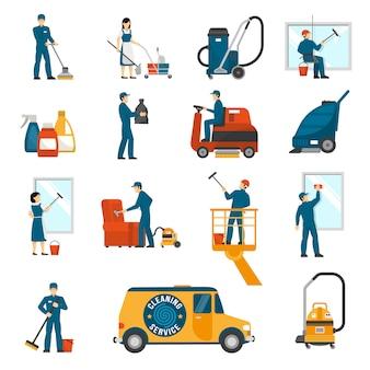Set di icone piane di servizio di pulizia industriale