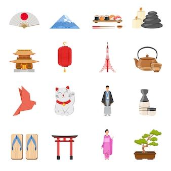 Set di icone piane di simboli nazionali giapponesi