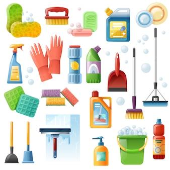 Set di icone piane di strumenti di pulizia forniture