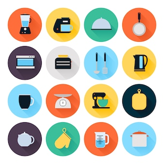 Set di icone piane di utensili da cucina e pentole