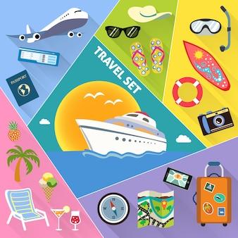 Set di icone piane di viaggio