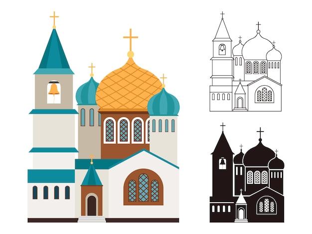 Set di icone piane e lineari di chiese cristiane