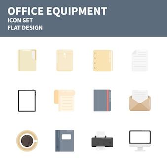 Set di icone piatte attrezzature per ufficio