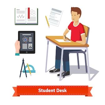 Set di icone piatte colorate scrivania dello studente